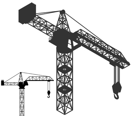 crane vehicle structure silhouette pack vector illustration Vector