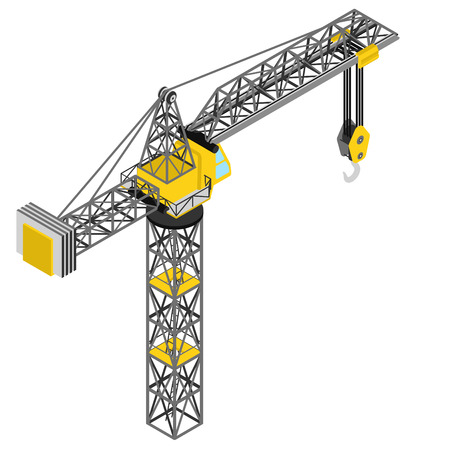 back view: isolated crane construction isometric back view drawing vector illustration Illustration