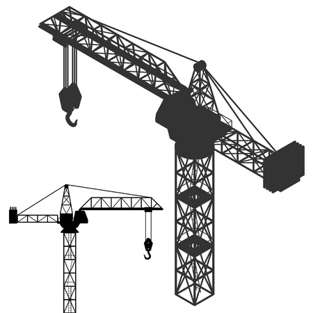 crane vehicle structure silhouette collection vector illustration Vector