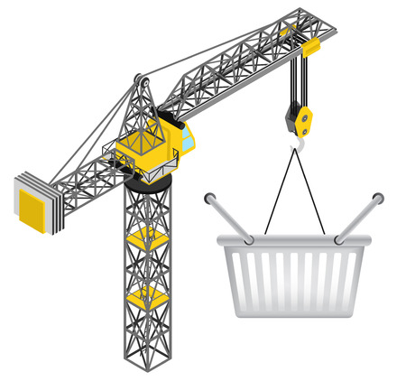 shopping basket hanged on isolated crane drawing vector illustration Vector
