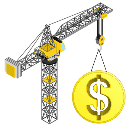 golden Dollar coin hanged on isolated crane drawing vector illustration Vector