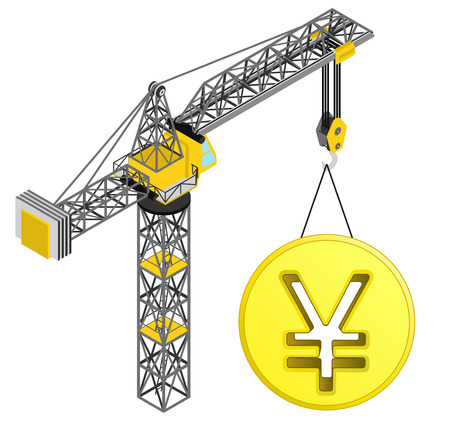 golden Yuan coin hanged on isolated crane drawing vector illustration Vector