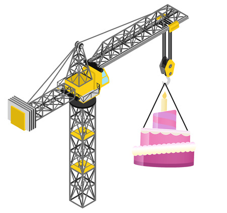 first birthday: candle cake hanged on isolated crane drawing vector illustration