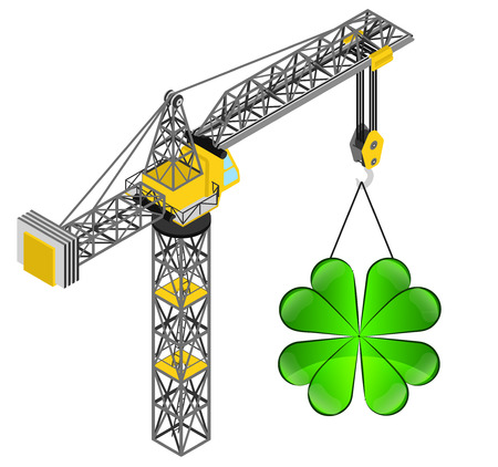 felicity: cloverleaf happiness hanged on isolated crane drawing vector illustration