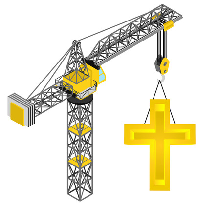 golden cross hanged on isolated crane drawing vector illustration Vector