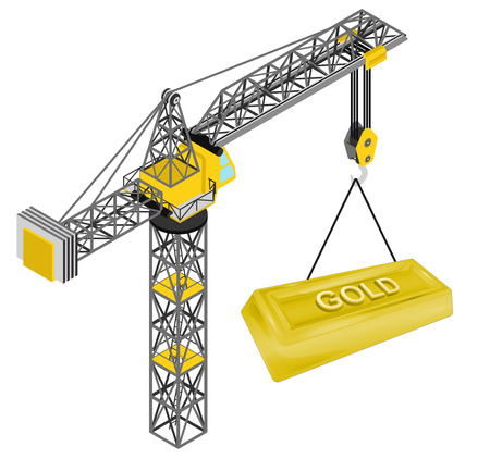 golden bar hanged on isolated crane drawing vector illustration Vector
