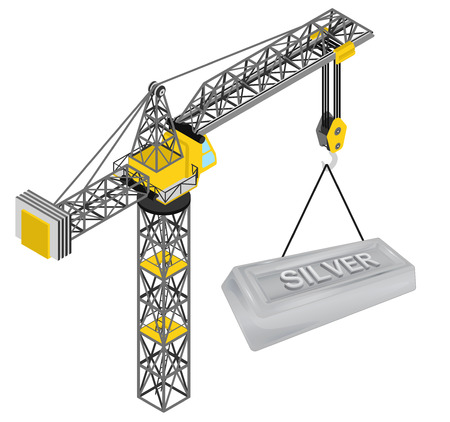 silver bar: silver bar hanged on isolated crane drawing vector illustration Illustration