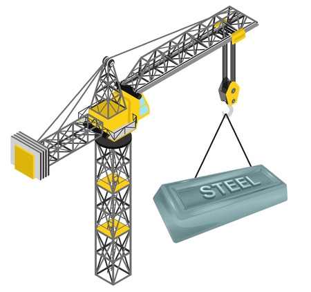 steel bar: steel bar hanged on isolated crane drawing vector illustration