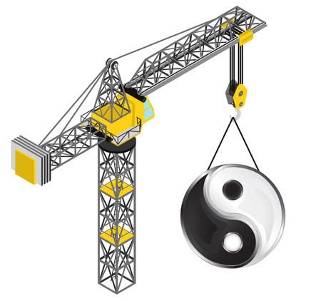 jing balance icon hanged on isolated crane drawing vector illustration