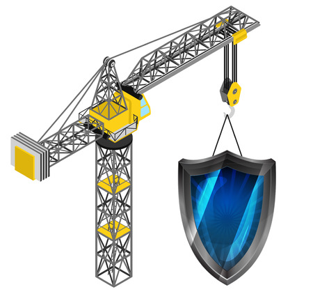 defensive: defensive shield hanged on isolated crane drawing vector illustration Illustration