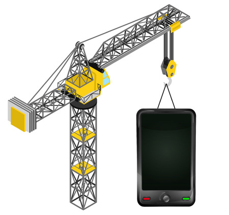new smartphone hanged on isolated crane drawing vector illustration Vector