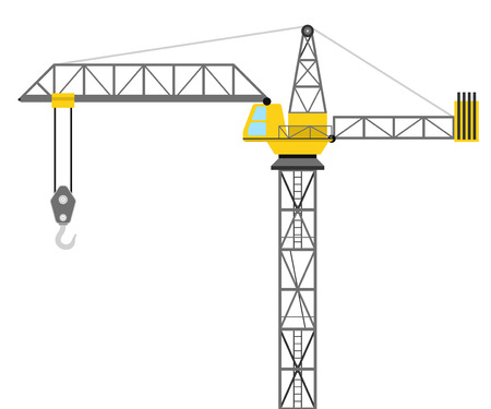 overhead view: isolated builder crane side view design vector illustration