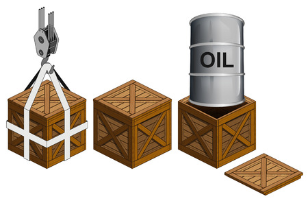wooden crate: oil barrel in open wooden crate packing collection vector illustration