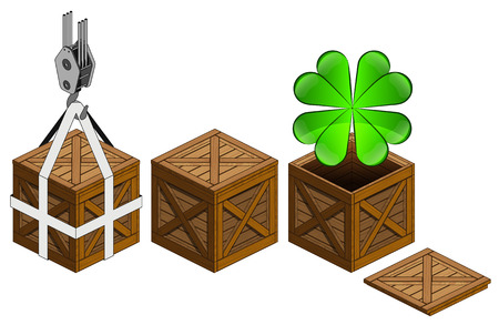 felicity: cloverleaf happiness in open wooden crate packing collection vector illustration