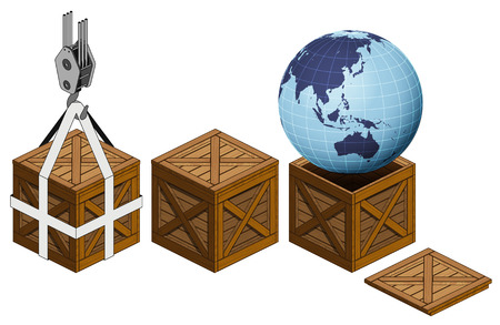 Asia earth world in open wooden crate packing collection vector illustration Vector