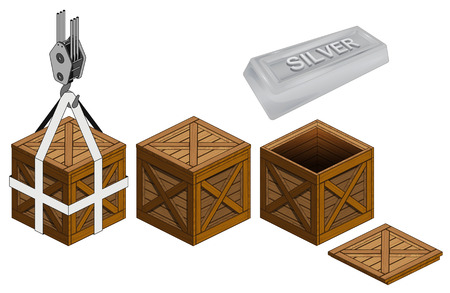 silver bar: silver bar in open wooden crate packing collection vector illustration