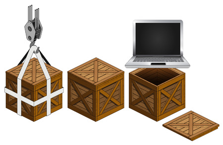 new laptop in open wooden crate packing collection vector illustration