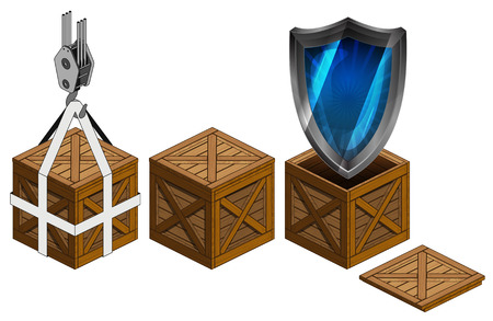defensive: defensive shield in open wooden crate packing collection vector illustration