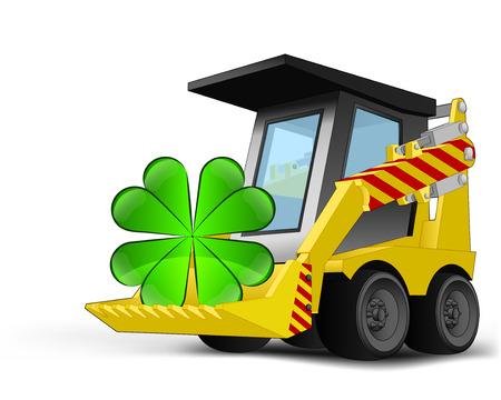 cloverleaf happiness on vehicle bucket transportation vector illustration Illustration