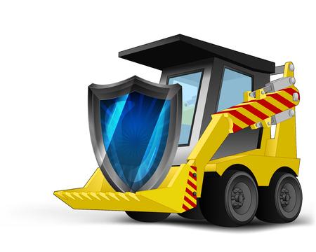 defensive: defensive shield on vehicle bucket transportation vector illustration