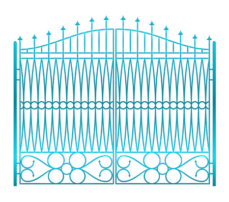 baroque gate: isolated on white closed iron gate fence vector illustration