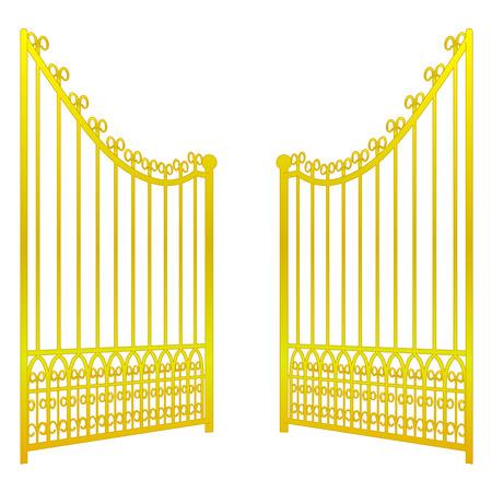 isolated on white open golden gate fence vector illustration Stock Illustratie