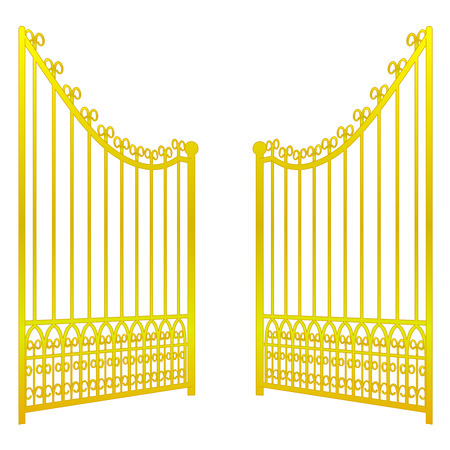 heavens gates: isolated on white open golden gate fence vector illustration Illustration