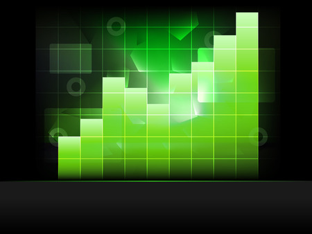 positive green graph with columns in grid vector template illustration Vector