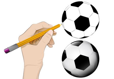 human hand drawing football Vector