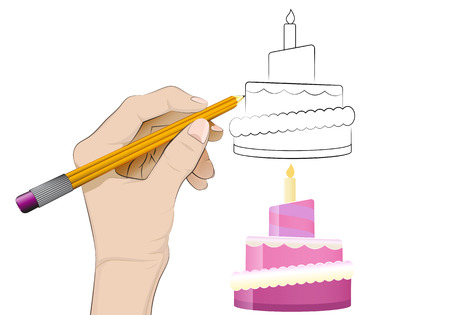 human hand drawing fancy cake Vector