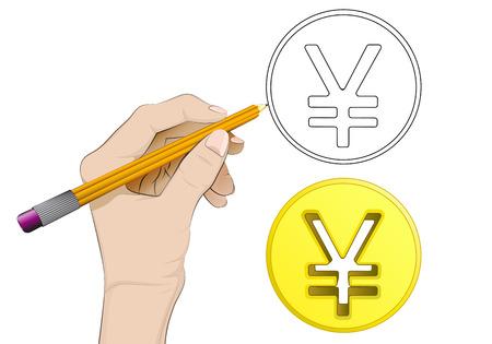 yuan: human hand drawing golden Yuan coin