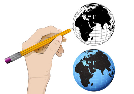 human hand drawing Africa world globe Vector