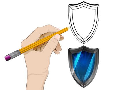 defensive:  human hand drawing defensive shield