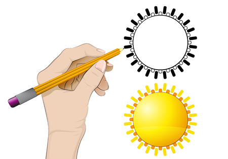 human hand drawing golden sun Vector