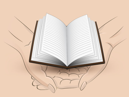 Holding open book in two hands Vector
