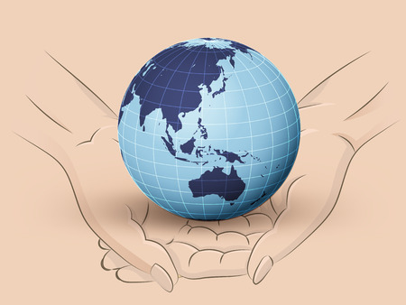 Holding Asia earth world in two hands Vector