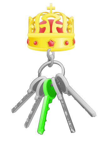 one isolated: royal crown on key ring with green one isolated vector illustration