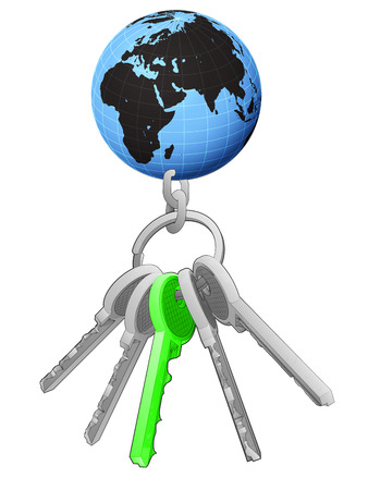 one isolated: Africa world globe on key ring with green one isolated vector illustration