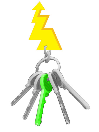 one isolated: energy bolt on key ring with green one isolated vector illustration Illustration