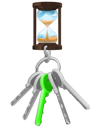 one isolated: running hourglass on key ring with green one isolated vector illustration Illustration