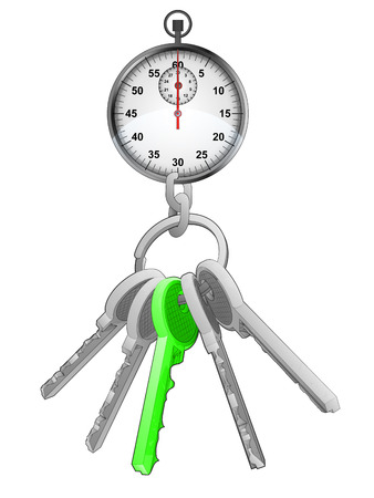one isolated: stopwatch on key ring with green one isolated vector illustration