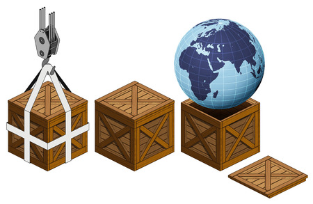 Africa earth world in open wooden crate packing collection vector illustration Vector
