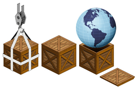 America earth world in open wooden crate packing collection vector illustration Vector
