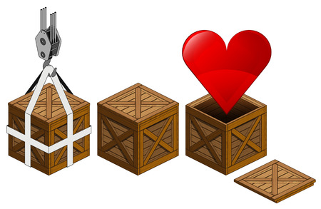red heart icon in open wooden crate packing collection vector illustration Vector