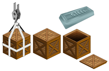 steel bar in open wooden crate packing collection vector illustration Illustration