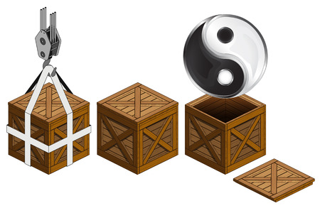 jing: jing balance icon in open wooden crate, packing collection vector illustration