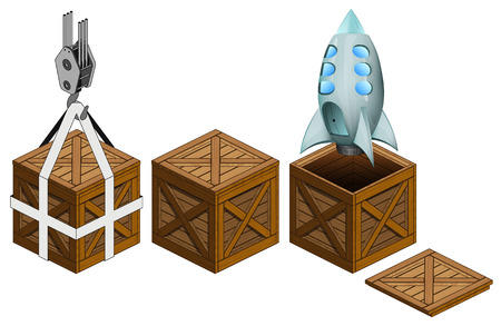 space rocket in open wooden crate, packing collection vector illustration Vector