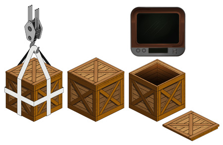 mass storage: retro tv in open wooden crate, packing collection vector illustration Illustration