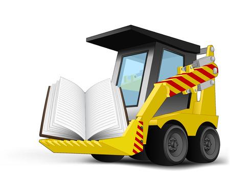 open book on vehicle bucket transportation vector illustration