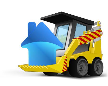 house icon on vehicle bucket transportation vector illustration Vector